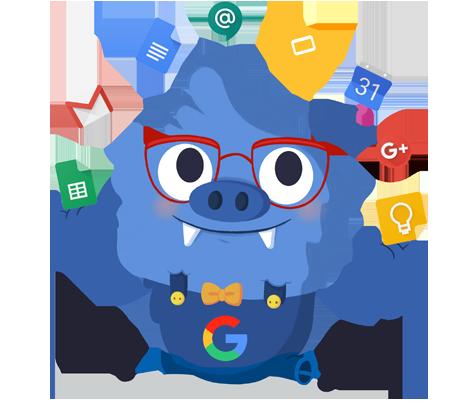 Il.lustració entranyable que acompanya el curs Progressar en el treball amb les eines Google Workspace for Education aplicades a l'aula