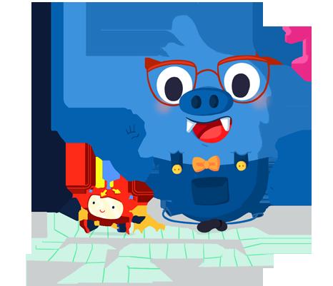 Il.lustració entranyable que acompanya el curs Robòtica i Programació a l'educació infantil i al cicle inicial de primària